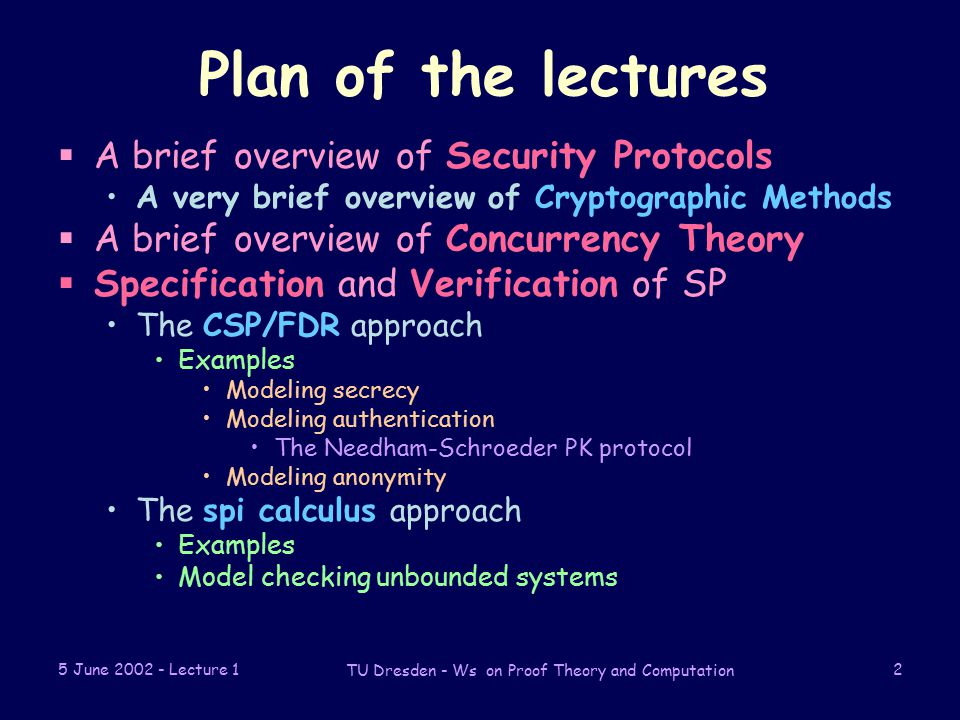 5 June Lecture 1 TU Dresden - Ws on Proof Theory and Computation 2 Plan of the lectures  A brief overview of Security Protocols A very brief overview of Cryptographic Methods  A brief overview of Concurrency Theory  Specification and Verification of SP The CSP/FDR approach Examples Modeling secrecy Modeling authentication The Needham-Schroeder PK protocol Modeling anonymity The spi calculus approach Examples Model checking unbounded systems