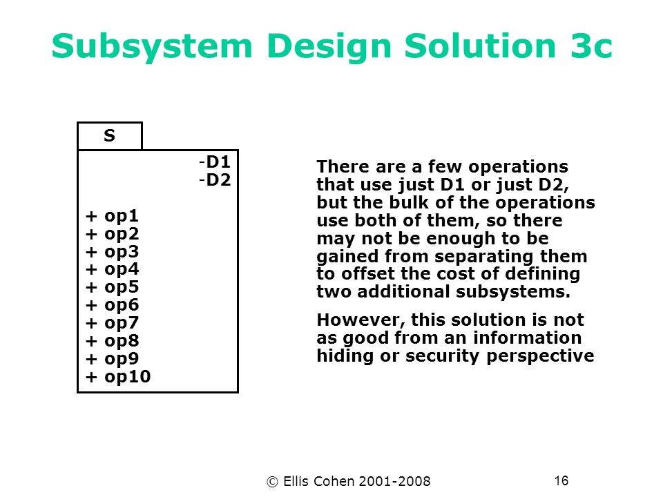 16 © Ellis Cohen 2001-2008 Subsystem Design Solution 3c S -D1 -D2 + op1 + op2 + op3 + op4 + op5 + op6 + op7 + op8 + op9 + op10 There are a few operations that use just D1 or just D2, but the bulk of the operations use both of them, so there may not be enough to be gained from separating them to offset the cost of defining two additional subsystems.