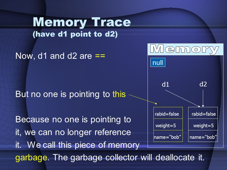 Memory Trace (have d1 point to d2) Now, d1 and d2 are == But no one is pointing to this Because no one is pointing to it, we can no longer reference it.