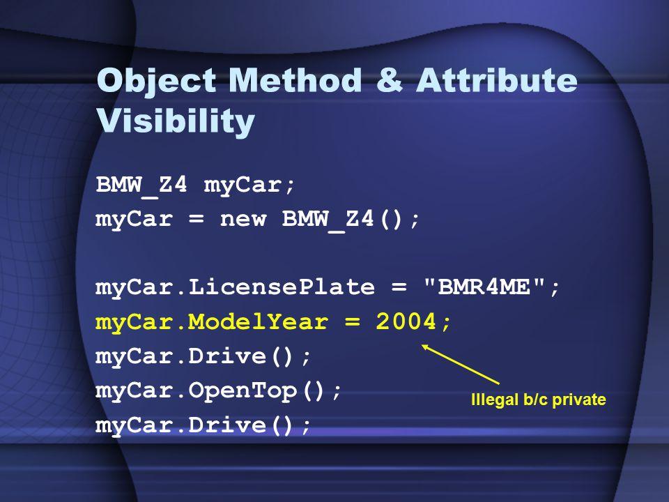 Object Method & Attribute Visibility BMW_Z4 myCar; myCar = new BMW_Z4(); myCar.LicensePlate = BMR4ME ; myCar.ModelYear = 2004; myCar.Drive(); myCar.OpenTop(); myCar.Drive(); Illegal b/c private