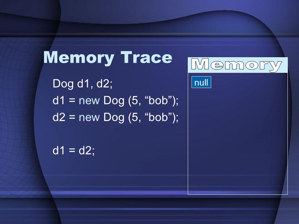 Memory Trace Dog d1, d2; d1 = new Dog (5, bob ); d2 = new Dog (5, bob ); d1 = d2; null