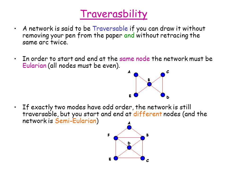 Traverasbility A network is said to be Traversable if you can draw it without removing your pen from the paper and without retracing the same arc twice.
