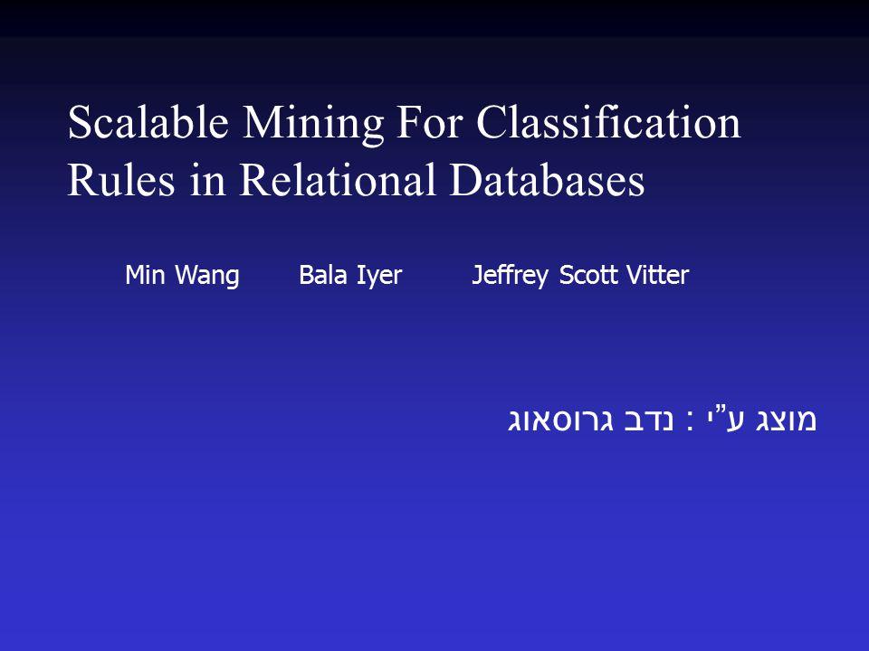 "Scalable Mining For Classification Rules in Relational Databases מוצג ע "" י : נדב גרוסאוג Min Wang Bala Iyer Jeffrey Scott Vitter"