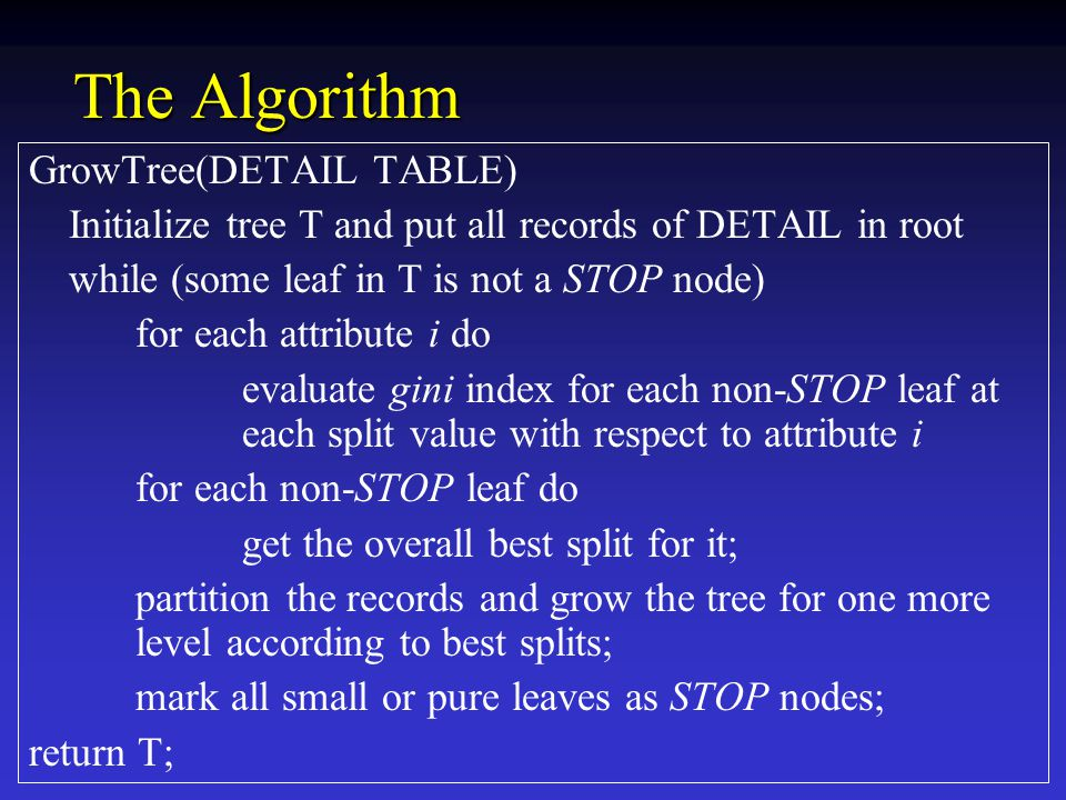 The Algorithm GrowTree(DETAIL TABLE) Initialize tree T and put all records of DETAIL in root while (some leaf in T is not a STOP node) for each attribute i do evaluate gini index for each non-STOP leaf at each split value with respect to attribute i for each non-STOP leaf do get the overall best split for it; partition the records and grow the tree for one more level according to best splits; mark all small or pure leaves as STOP nodes; return T;