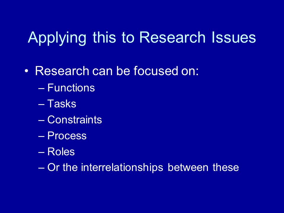 Applying this to Research Issues Research can be focused on: –Functions –Tasks –Constraints –Process –Roles –Or the interrelationships between these