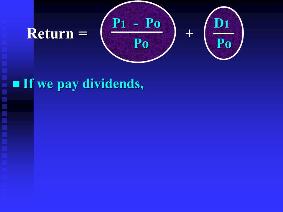 n If we pay dividends, P 1 - Po D 1 P 1 - Po D 1 Po Po Po Po + Return =