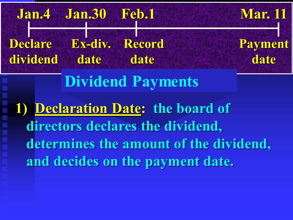 Dividend Payments 1) Declaration Date: the board of directors declares the dividend, determines the amount of the dividend, and decides on the payment