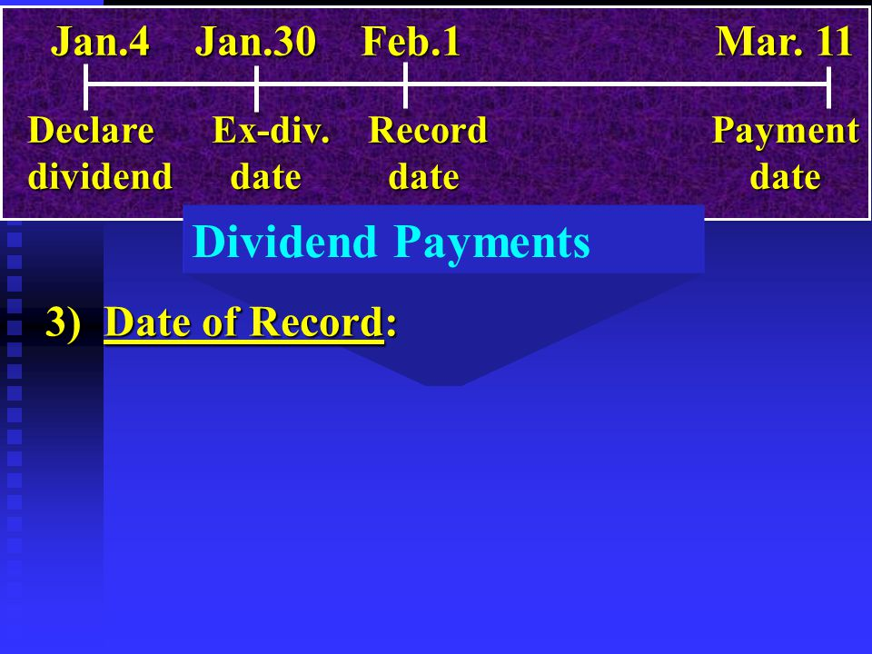 Dividend Payments 3) Date of Record: Jan.4 Jan.30 Feb.1 Mar. 11 Declare Ex-div. Record Payment dividend date date date