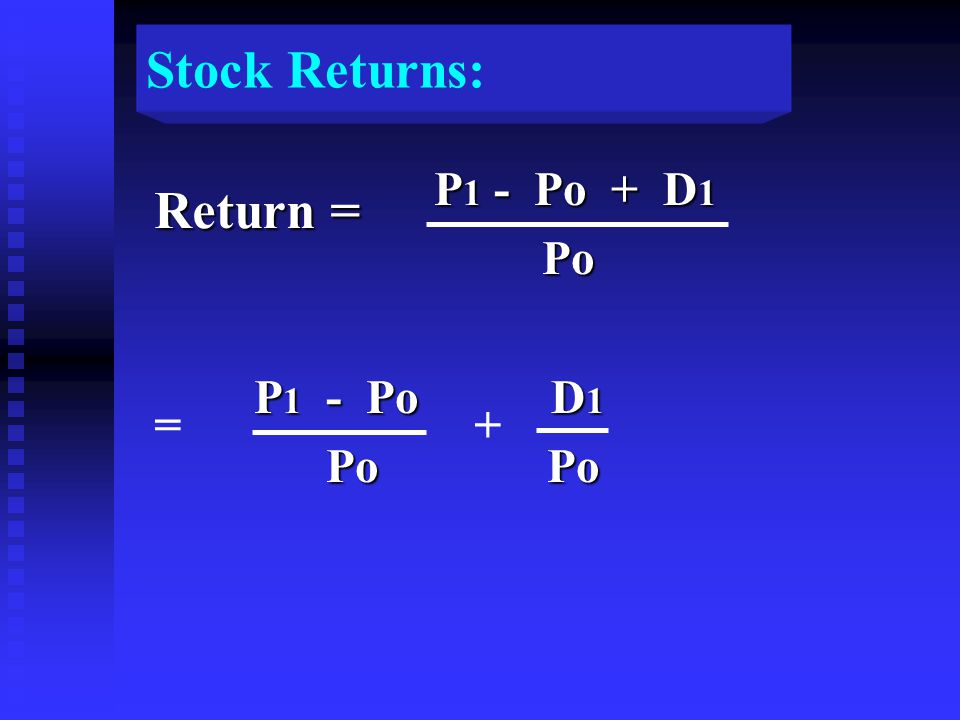 P 1 - Po + D 1 P 1 - Po + D 1 Po Po P 1 - Po D 1 P 1 - Po D 1 Po Po Po Po + Return = = Stock Returns: