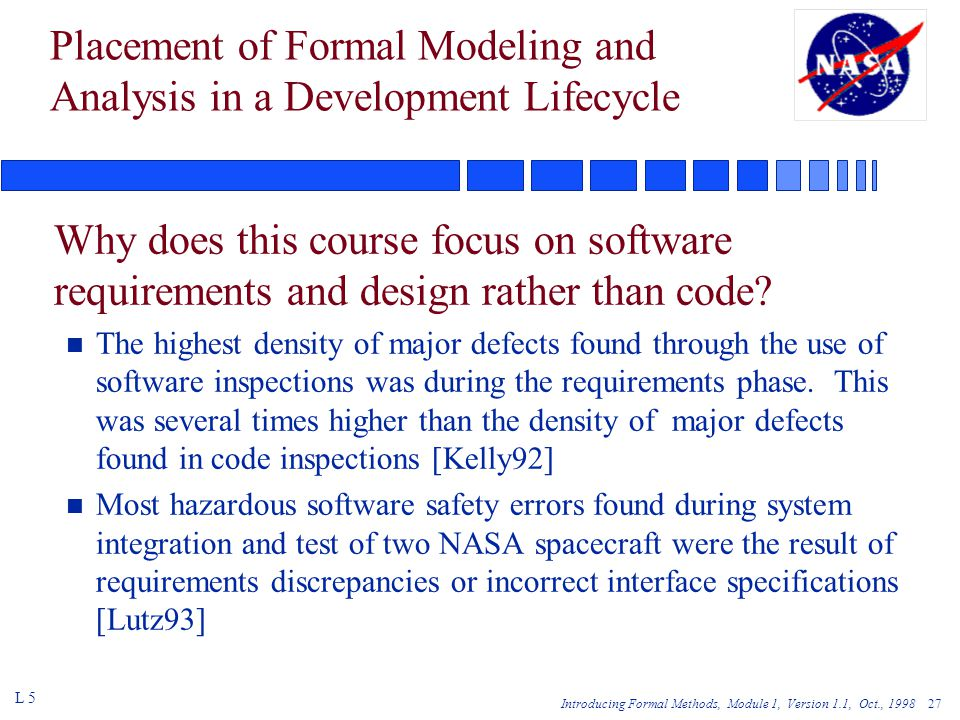 Introducing Formal Methods, Module 1, Version 1.1, Oct., 1998 27 Placement of Formal Modeling and Analysis in a Development Lifecycle Why does this course focus on software requirements and design rather than code.