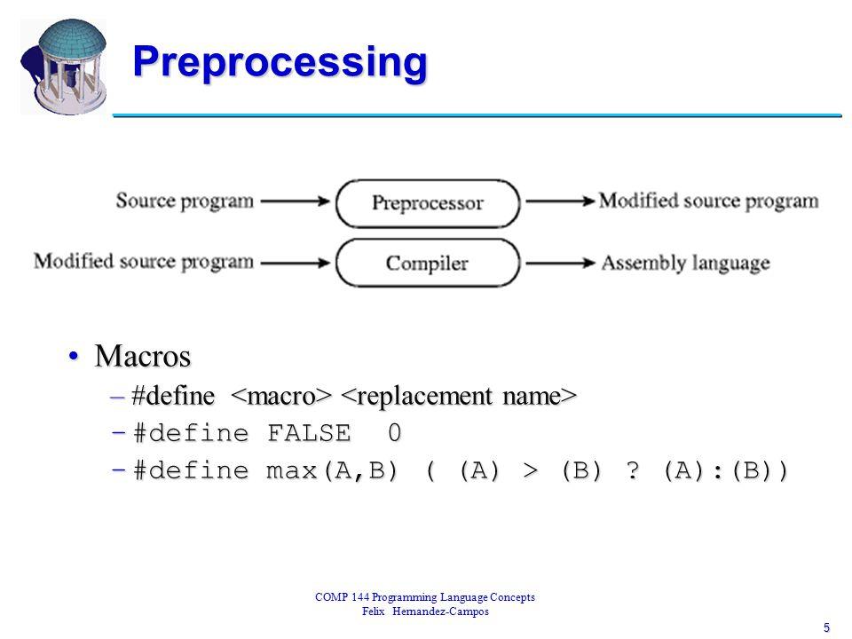 6 COMP 144 Programming Language Concepts Felix Hernandez-Campos Linking Libraries of subroutinesLibraries of subroutines