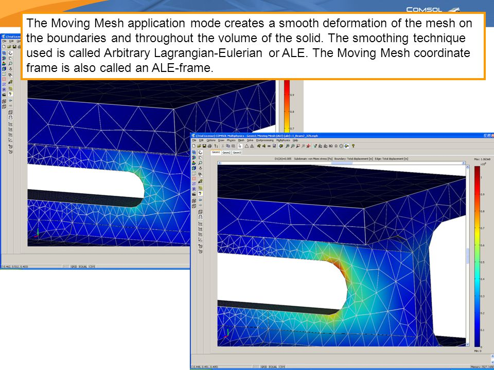 The Moving Mesh application mode creates a smooth deformation of the mesh on the boundaries and throughout the volume of the solid. The smoothing tech