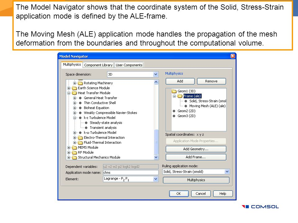 The Model Navigator shows that the coordinate system of the Solid, Stress-Strain application mode is defined by the ALE-frame. The Moving Mesh (ALE) a