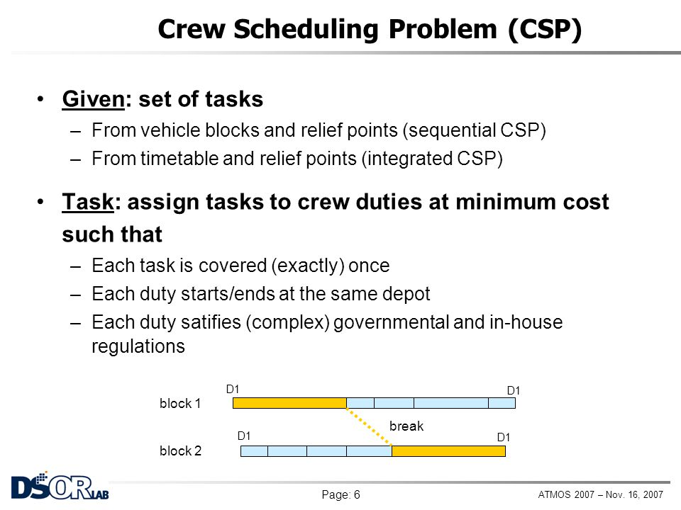 ATMOS 2007 – Nov. 16, 2007 Page: 6 Crew Scheduling Problem (CSP) Given: set of tasks –From vehicle blocks and relief points (sequential CSP) –From tim