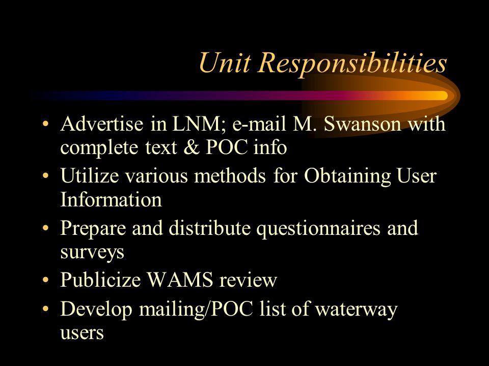 Unit Responsibilities (Cont) Collect geographic features info/bridge info Collect facilities information Review ACOE Channel Surveys/determine dredging freq.