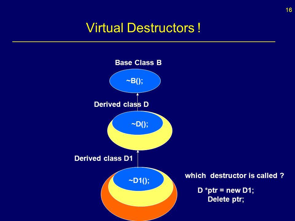 16 Virtual Destructors .