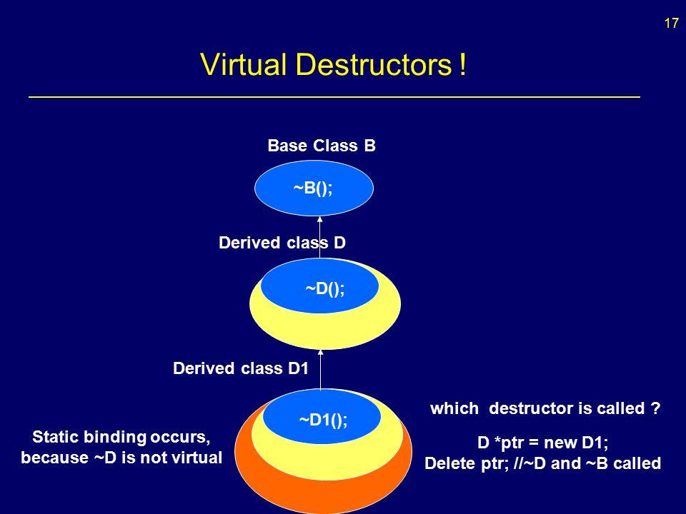 17 Virtual Destructors .