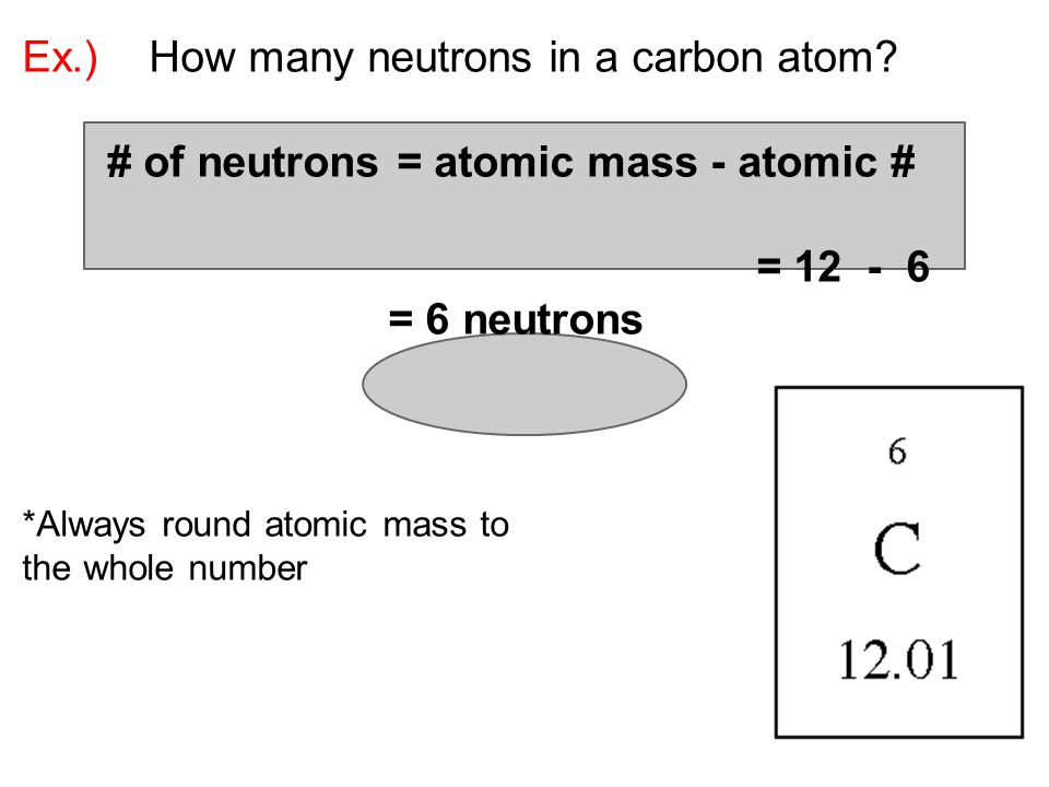 Ex.) How many neutrons in a carbon atom.