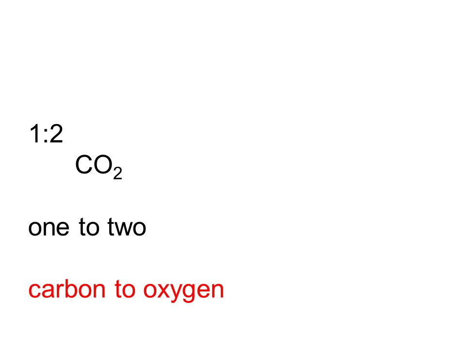 1:2 CO 2 one to two carbon to oxygen