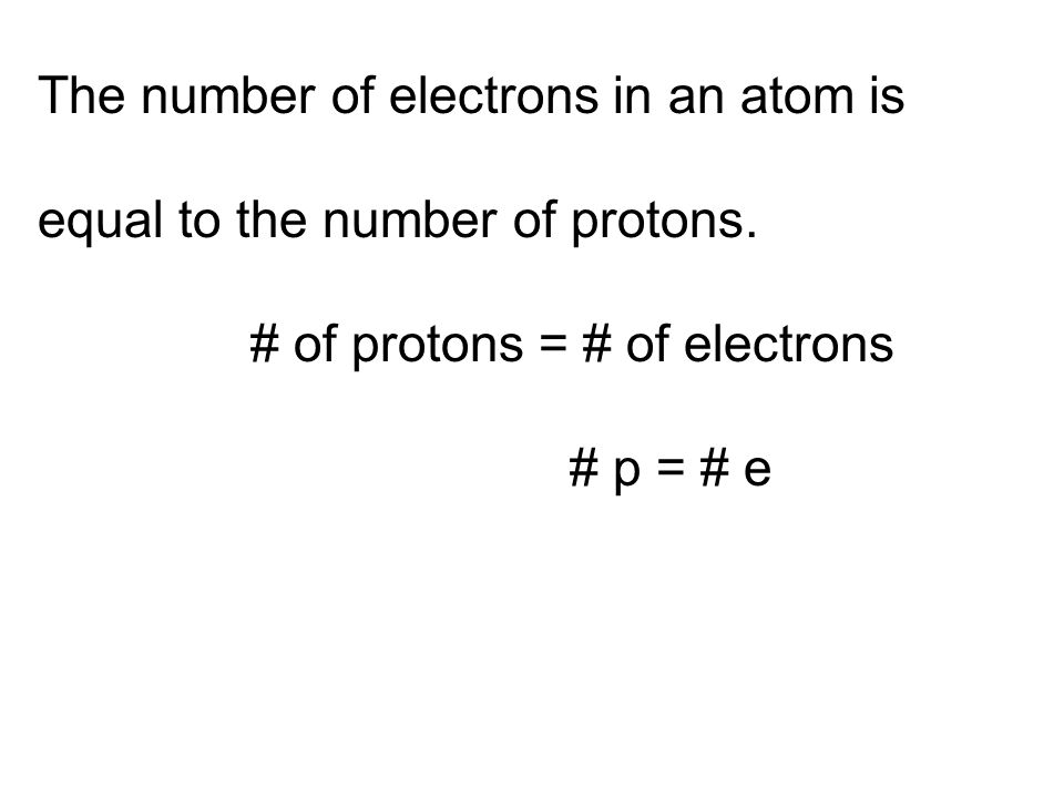 The number of electrons in an atom is equal to the number of protons.