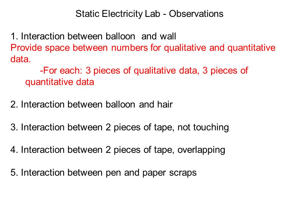 Static Electricity Lab - Observations 1.