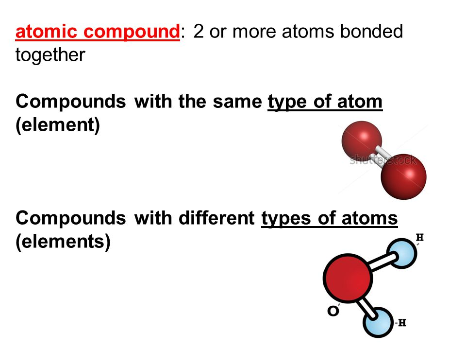 atomic compound: 2 or more atoms bonded together Compounds with the same type of atom (element) Compounds with different types of atoms (elements)