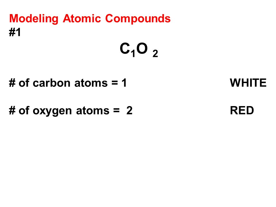 Modeling Atomic Compounds #1 C 1 O 2 # of carbon atoms = 1 WHITE # of oxygen atoms = 2 RED