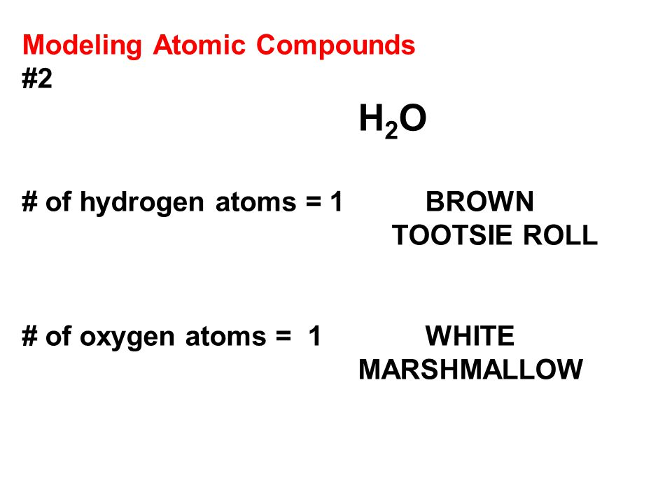Modeling Atomic Compounds #2 H 2 O # of hydrogen atoms = 1 BROWN TOOTSIE ROLL # of oxygen atoms = 1WHITE MARSHMALLOW