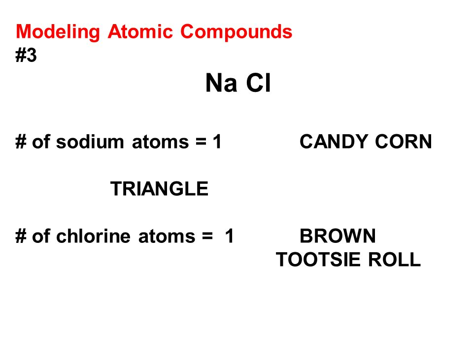Modeling Atomic Compounds #3 Na Cl # of sodium atoms = 1 CANDY CORN TRIANGLE # of chlorine atoms = 1BROWN TOOTSIE ROLL