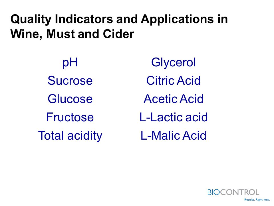 pH Sucrose Glucose Fructose Total acidity Glycerol Citric Acid Acetic Acid L-Lactic acid L-Malic Acid Quality Indicators and Applications in Wine, Must and Cider