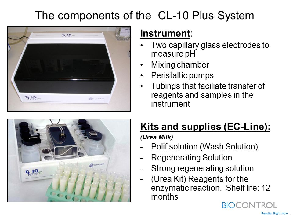 Instrument: Two capillary glass electrodes to measure pH Mixing chamber Peristaltic pumps Tubings that faciliate transfer of reagents and samples in the instrument Kits and supplies (EC-Line): (Urea Milk) -Polif solution (Wash Solution) -Regenerating Solution -Strong regenerating solution -(Urea Kit) Reagents for the enzymatic reaction.