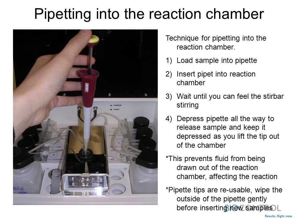 Pipetting into the reaction chamber Technique for pipetting into the reaction chamber.