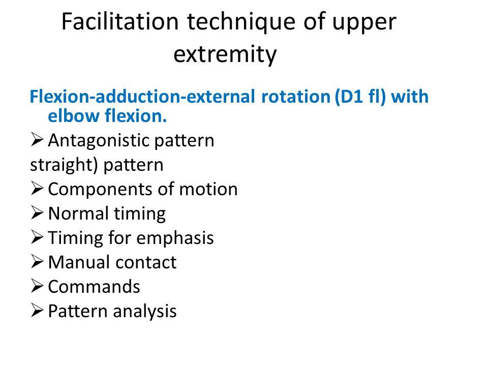 Flexion-adduction-external rotation (D1 fl) with elbow flexion.