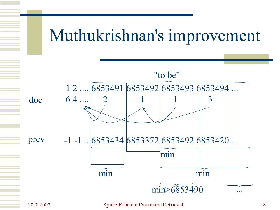 10.7.2007 Space-Efficient Document Retrieval8 Muthukrishnan s improvement 1 2....
