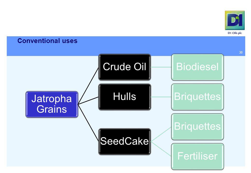 Conventional uses 30 Jatropha Grains Crude OilBiodieselHullsBriquettesSeedCakeBriquettesFertiliser