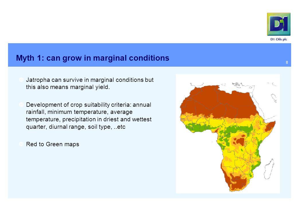 Myth 1: can grow in marginal conditions  Jatropha can survive in marginal conditions but this also means marginal yield.