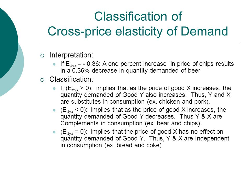 Classification of Cross-price elasticity of Demand  Interpretation: If E dyx = - 0.36: A one percent increase in price of chips results in a 0.36% decrease in quantity demanded of beer  Classification: If (E dyx > 0): implies that as the price of good X increases, the quantity demanded of Good Y also increases.