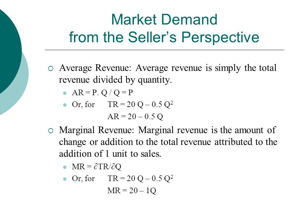 Market Demand from the Seller's Perspective  Average Revenue: Average revenue is simply the total revenue divided by quantity.