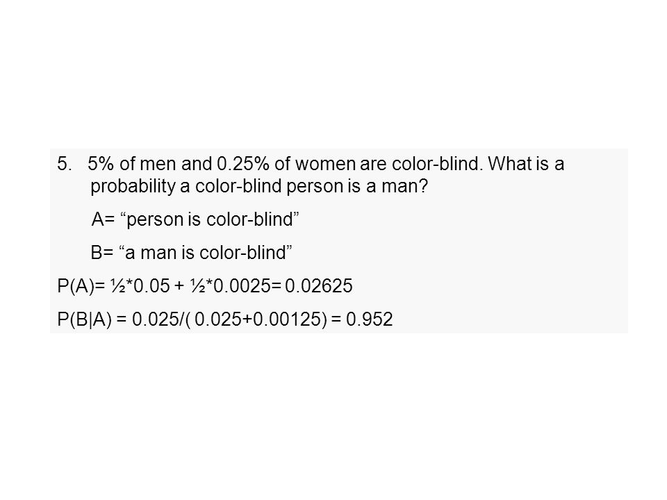 5. 5% of men and 0.25% of women are color-blind.