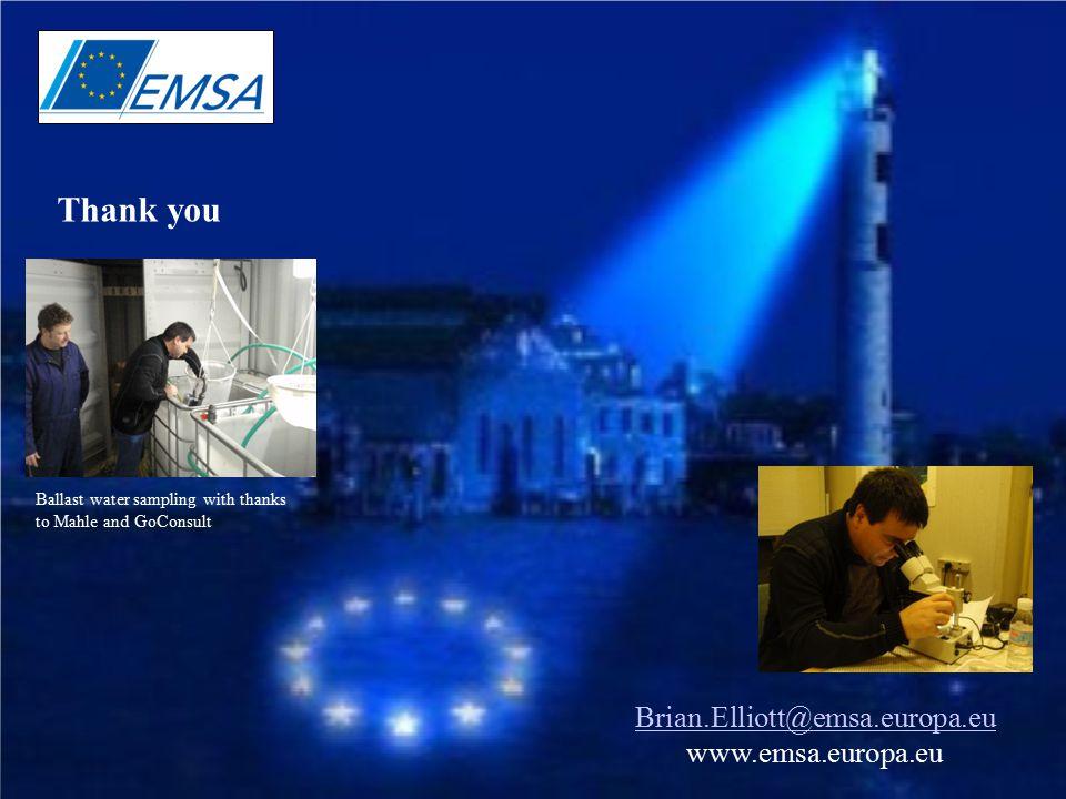 12 Thank you Brian.Elliott@emsa.europa.eu www.emsa.europa.eu Ballast water sampling with thanks to Mahle and GoConsult