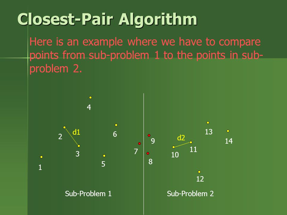 Here is an example where we have to compare points from sub-problem 1 to the points in sub- problem 2. 1 2 3 4 5 6 7 8 9 10 11 12 13 14 Closest-Pair A