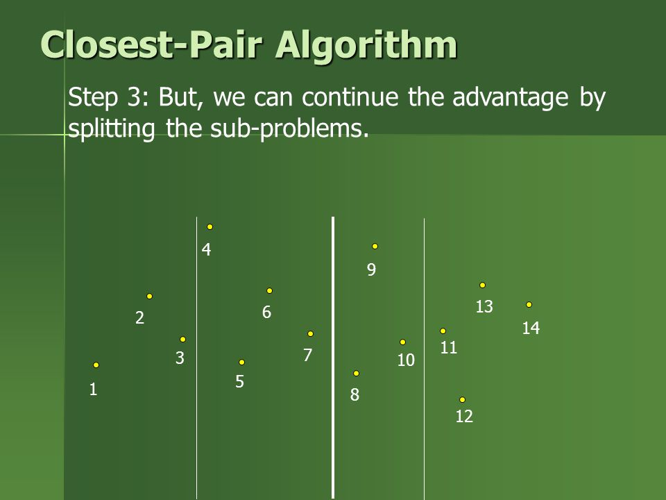 Step 3: But, we can continue the advantage by splitting the sub-problems. 1 2 3 4 5 6 7 8 9 10 11 12 13 14 Closest-Pair Algorithm