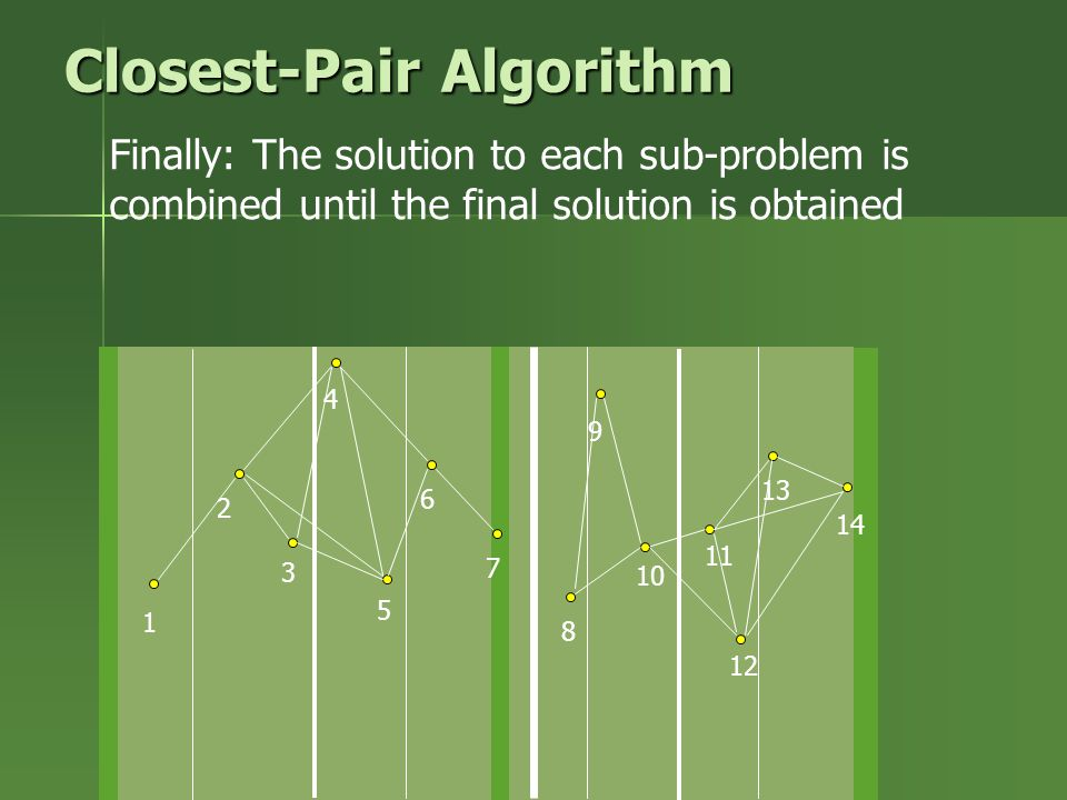 Finally: The solution to each sub-problem is combined until the final solution is obtained 1 2 3 4 5 6 7 8 9 10 11 12 13 14 Closest-Pair Algorithm