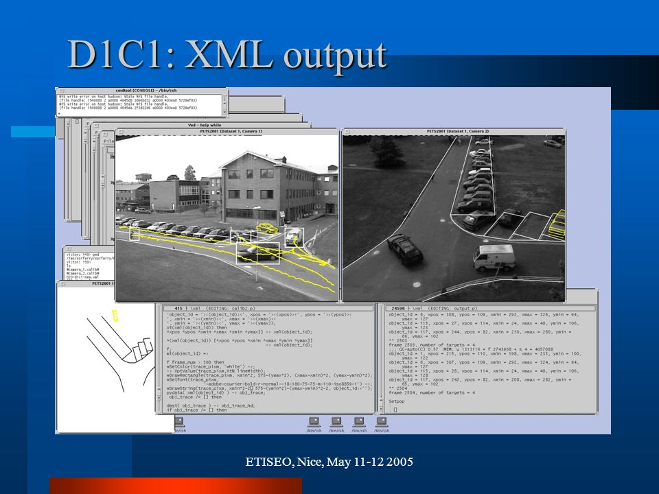 ETISEO, Nice, May 11-12 2005 D1C1: XML output