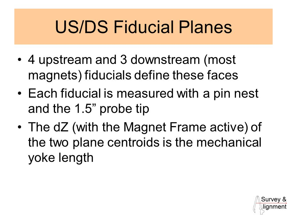 10 US/DS Fiducial Planes 4 upstream and 3 downstream (most magnets) fiducials define these faces Each fiducial is measured with a pin nest and the 1.5 probe tip The dZ (with the Magnet Frame active) of the two plane centroids is the mechanical yoke length