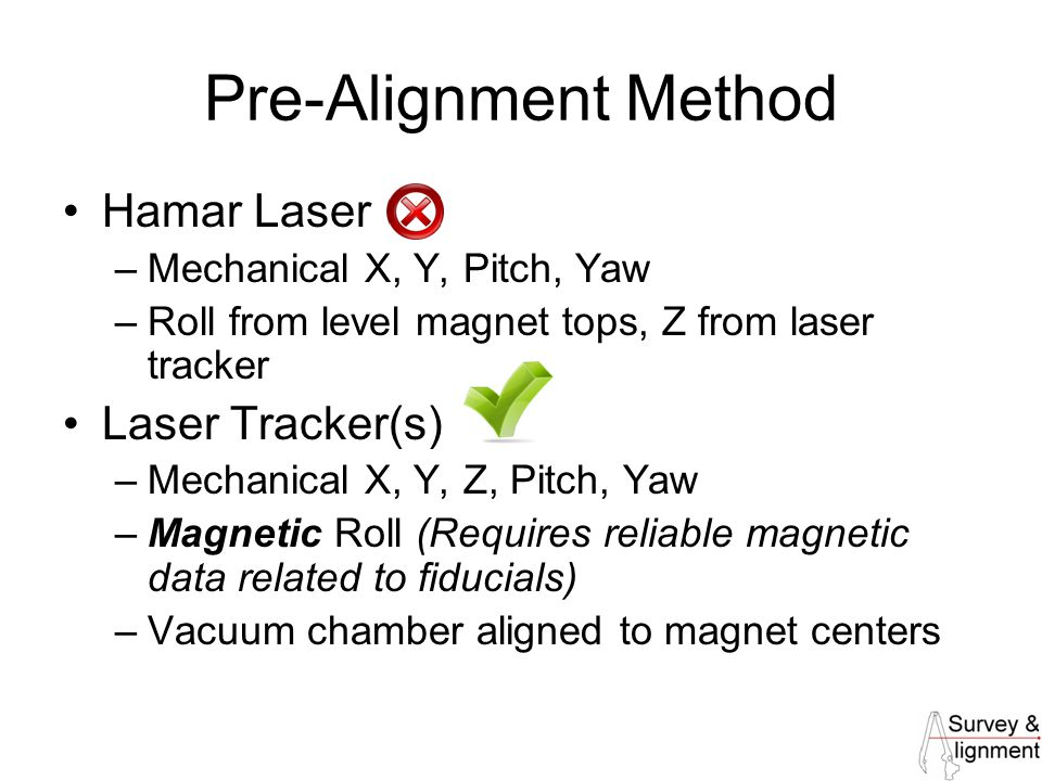 30 Pre-Alignment Method Hamar Laser –Mechanical X, Y, Pitch, Yaw –Roll from level magnet tops, Z from laser tracker Laser Tracker(s) –Mechanical X, Y, Z, Pitch, Yaw –Magnetic Roll (Requires reliable magnetic data related to fiducials) –Vacuum chamber aligned to magnet centers