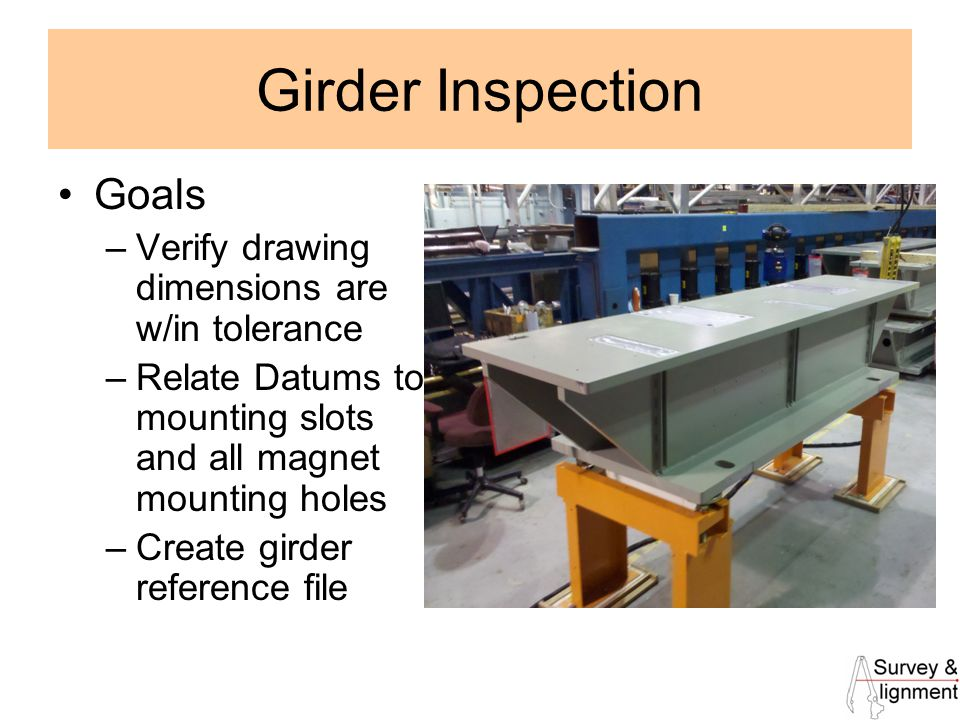 5 Girder Inspection Goals –Verify drawing dimensions are w/in tolerance –Relate Datums to mounting slots and all magnet mounting holes –Create girder reference file