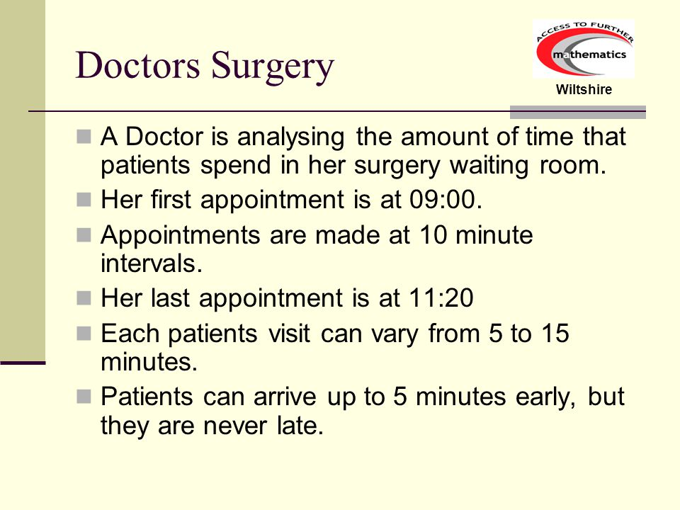 Wiltshire Doctors Surgery A Doctor is analysing the amount of time that patients spend in her surgery waiting room.