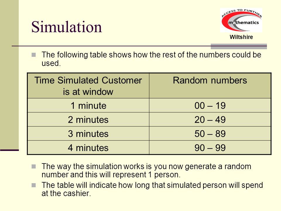 Wiltshire Simulation The following table shows how the rest of the numbers could be used.