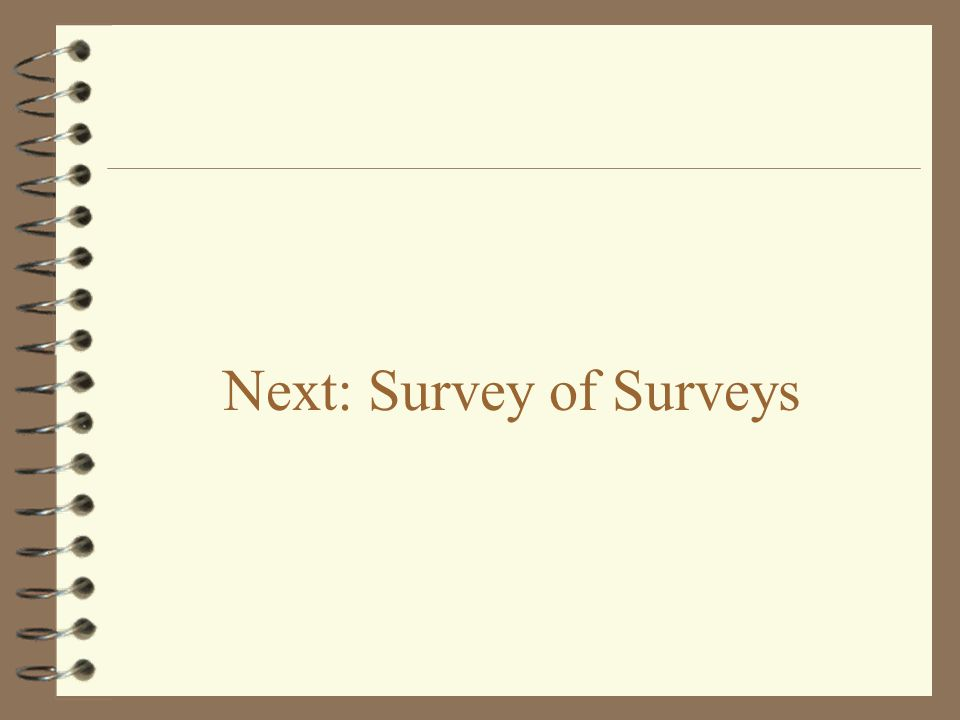 Next: Survey of Surveys